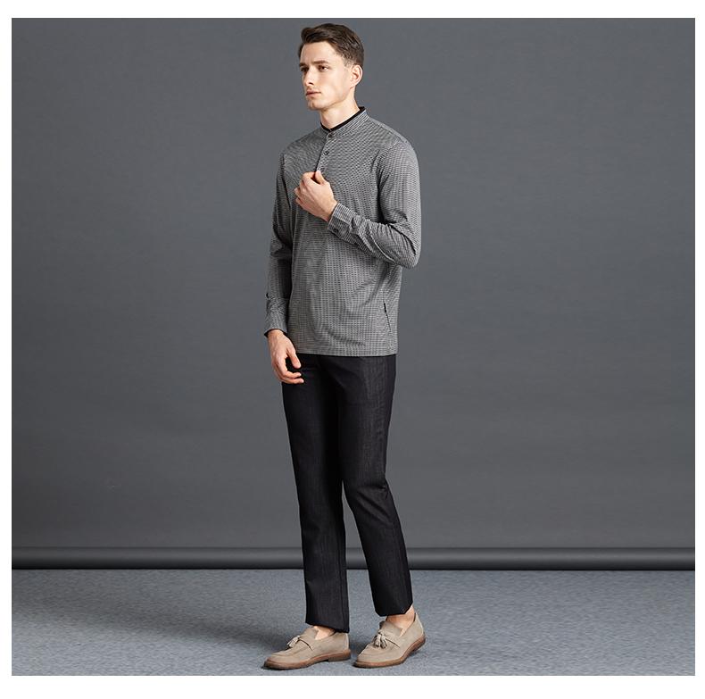Satchi Sha Chi lụa dài tay T-Shirt nam kinh doanh bình thường đứng cổ áo T-Shirt điểm sóng đan t-shirt cotton áo form rộng nam