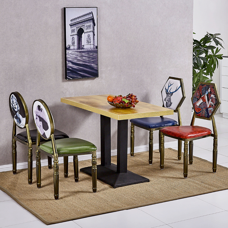 Барный стул Старинные Старый обеденный стол из кованого железа и Председатель американской континентальной отель обеденный стул стул отдыха спинку ногтей стулья