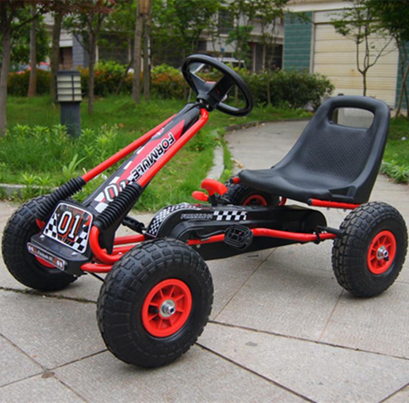 新款加固儿童卡丁车宝宝脚踏健身益智玩具四轮汽车充气轮3至10岁