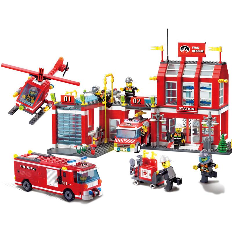 启蒙积木儿童拼装玩具男孩益智力动脑多功能消防车拼图模型10岁