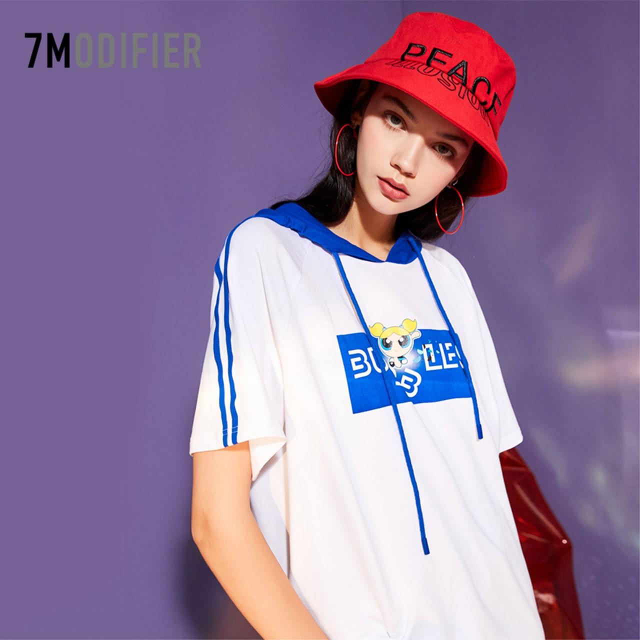 7M印花宽松INS休闲短袖女2018新款韩版百搭学生t恤嘻哈BF风上衣