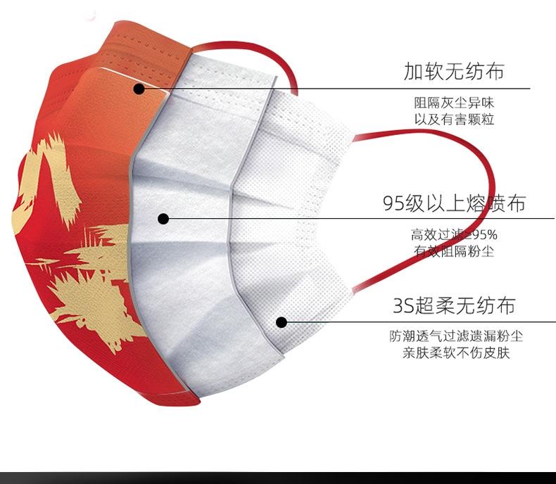 中国风口罩三层防护独立包装 30个 图2