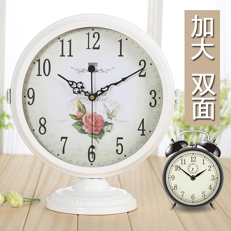超v摆件现代简约摆件双面座钟时钟创意欧式坐钟桌面客厅台式大号