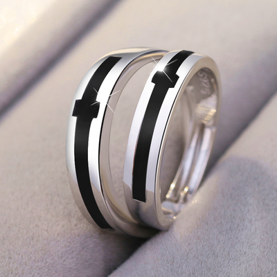 Sterling Silver Lovers Ring A Pair Of Lettering S925 Ring Jewelry