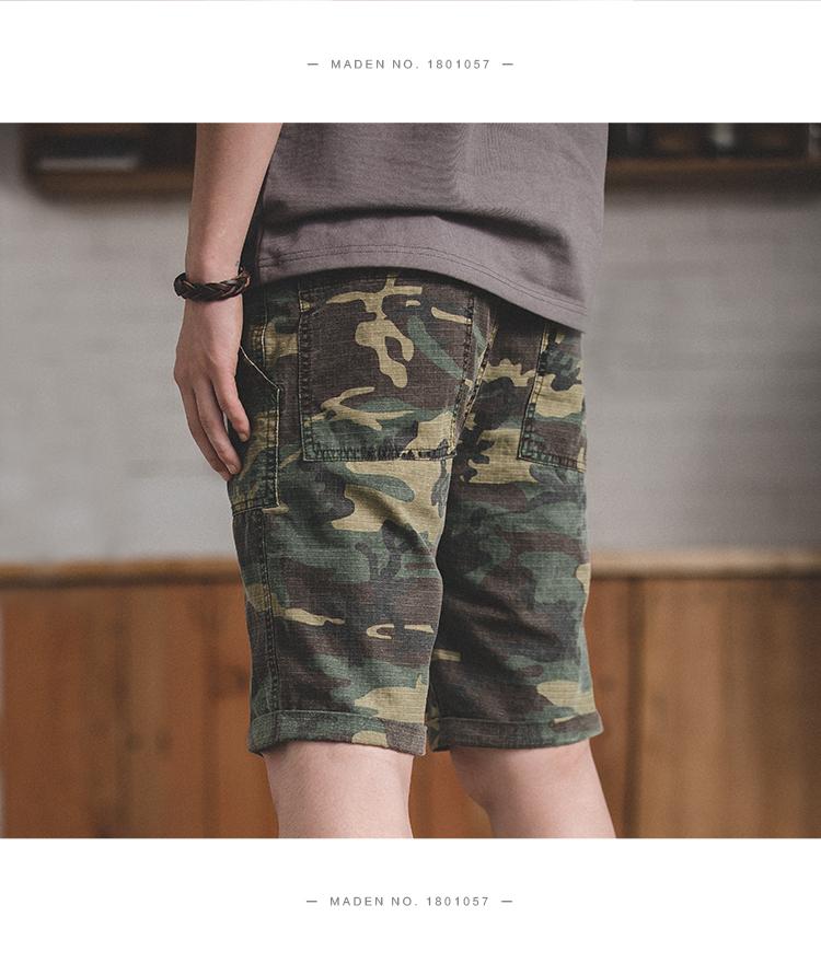 Madden dụng cụ Mỹ vintage quân gió boong quần lỏng quần short casual rửa ngụy trang năm quần nam