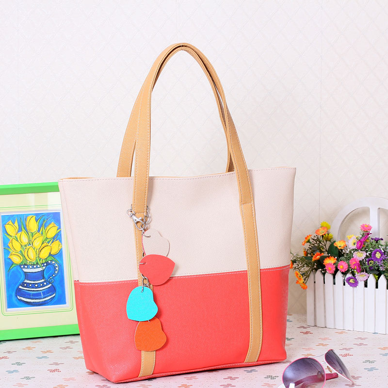 Large Capacity Women Shoulder Bag Two spell candy color female bag Fashion Lady Women Leather Bag 24