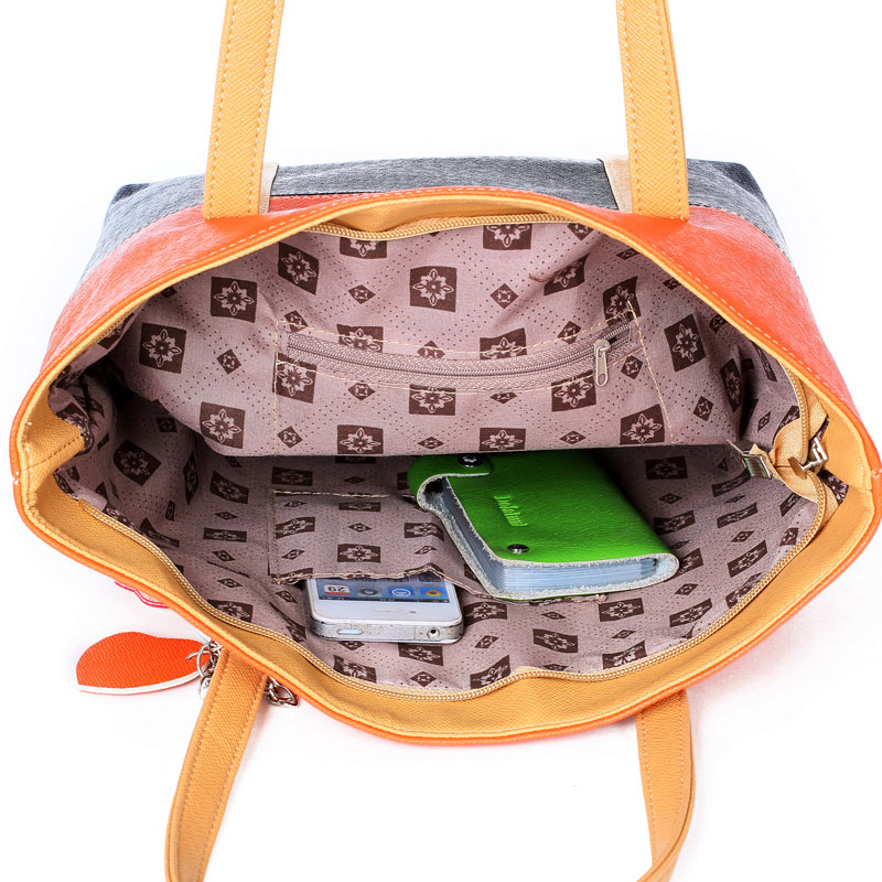 Large Capacity Women Shoulder Bag Two spell candy color female bag Fashion Lady Women Leather Bag 19