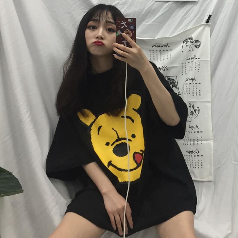韩版v短袖T恤女套头短袖圆领春夏女生原宿bf风中长款百搭上衣卡通