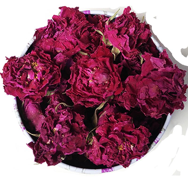 2018特级平阴玫瑰花冠王 天然低温无硫干玫瑰茶 大朵新鲜罐装35g