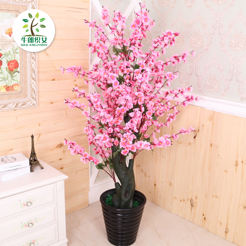 Simulation peach tree potted living room decoration decoration peach ...