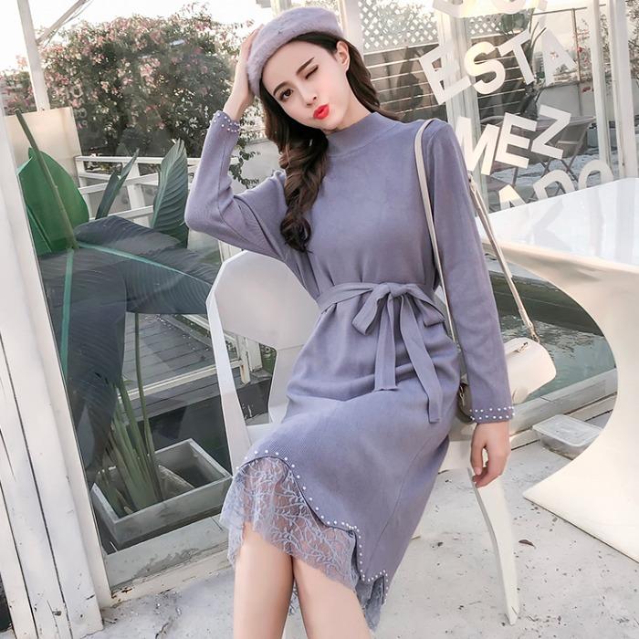 2019新款秋装蕾丝长袖拼接半毛衣钉珠修身显瘦针织高领裙连衣裙女