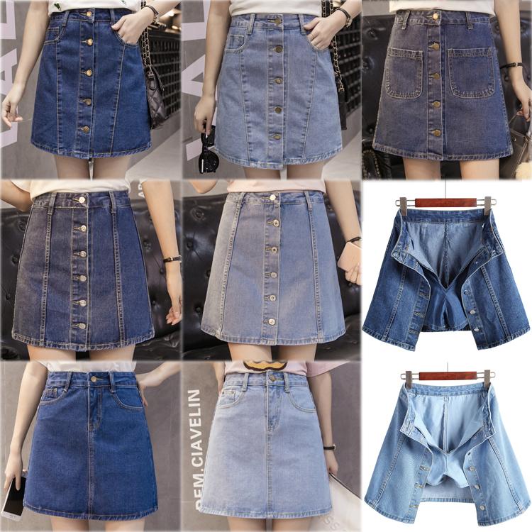 c3ecf58bf6c Джинсовый Короткая юбка летом высокая Талия студента anti-lighting юбка  женский один с пуговицами A