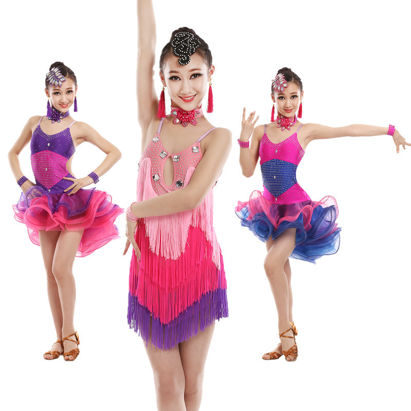 03ae7b6bc Sequin tassel latin dance dress for girls salsa kids dresses ...