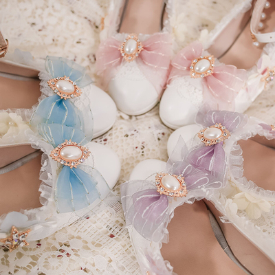 taobao agent Original authentic lolita shoes cute soft girl Lolita round head shallow mouth high heel bow lo all-match girl shoes