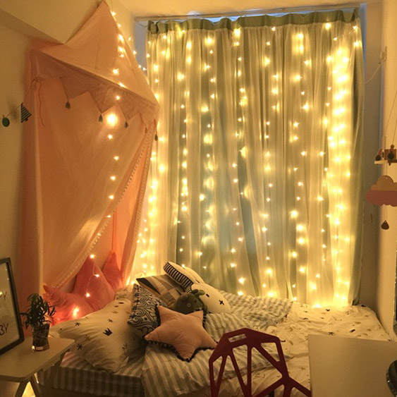 Led Lights Flashing Lights Lights Stars Star Network Red Bedroom Layout Curtain  Lights Star Lights Ins Soft Sister Room Decoration