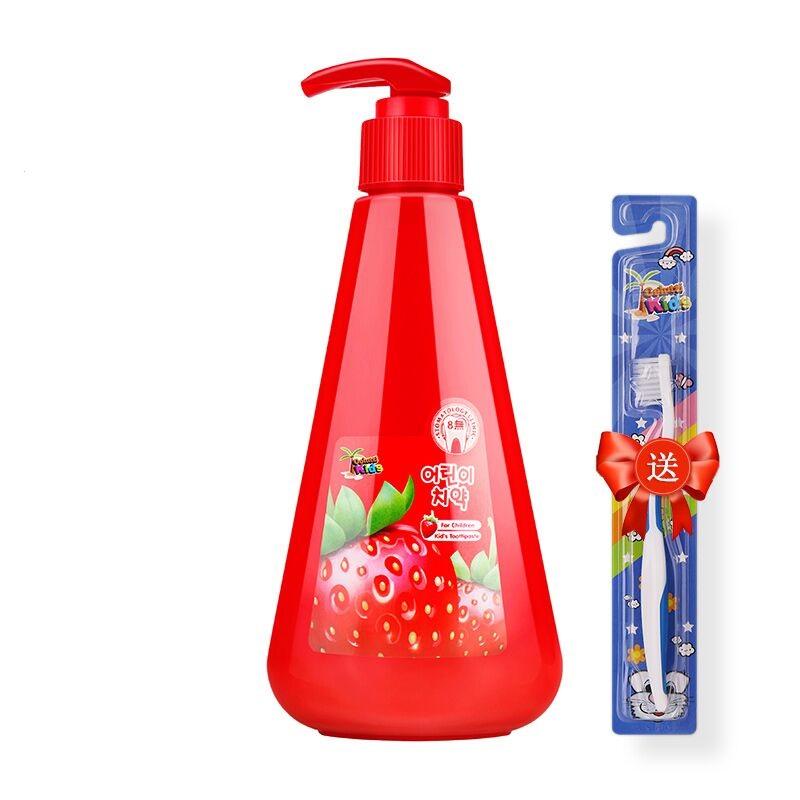 儿童牙膏按压式2-3-6-10-12岁小学生进口防蛀宝宝牙刷套装可吞咽
