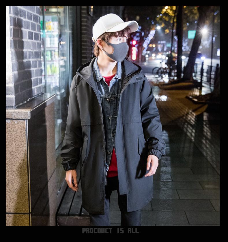 春秋季ins潮牌中长款风衣男士外套连帽帅气男装1602-F784-P148