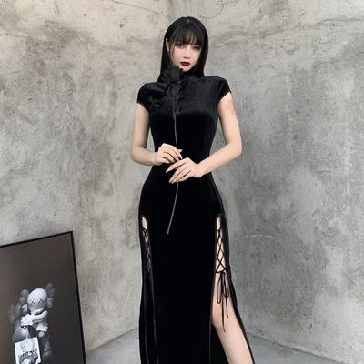 复古中国风性感丝绒高腰开叉绑带旗袍长裙 御姐范十足~