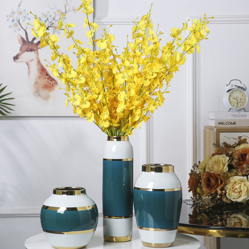 Contracted light the key-2 luxury of jingdezhen ceramic vase three - piece ceramic crafts home furnishing articles decorative flower porcelain
