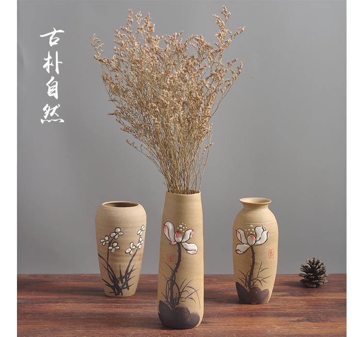 Chinese style restoring ancient ways, TaoXiaoHua bottles of jingdezhen hand - made pottery flower implement manual creative household decorates sitting room flower arrangement
