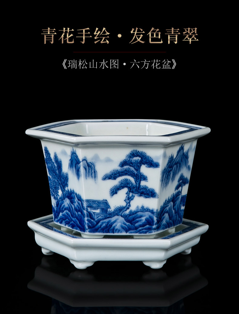 Jingdezhen porcelain hand - made flowerpot ceramic sitting room of Chinese style delicate checking flower pot in costly orchid flower POTS