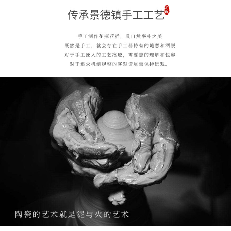 New Chinese style ceramic handicraft furnishing articles creative household act the role ofing is tasted soft outfit northern wind sitting room porch vase three - piece suit