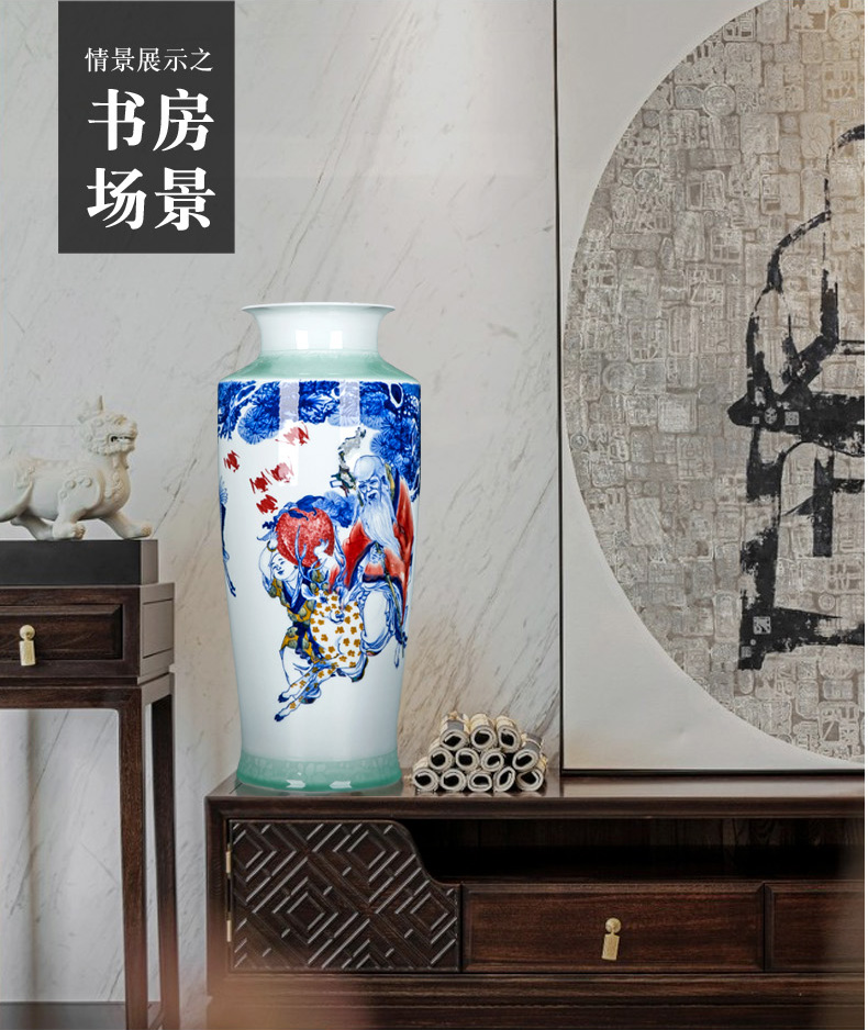 Jingdezhen large Chinese vase living room TV cabinet ceramic furnishing articles receive decorate scroll painting and calligraphy calligraphy and painting porcelain