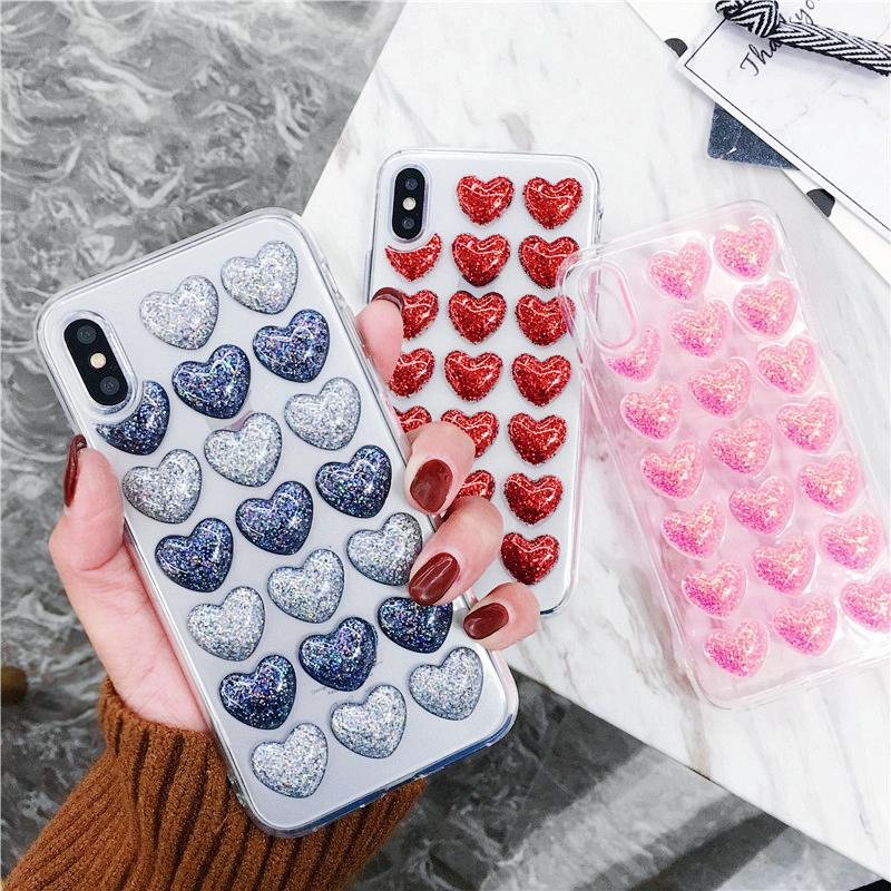 ins韩风立体闪粉爱心iPhoneX手机壳苹果7plus滴胶软壳6s潮女8plus
