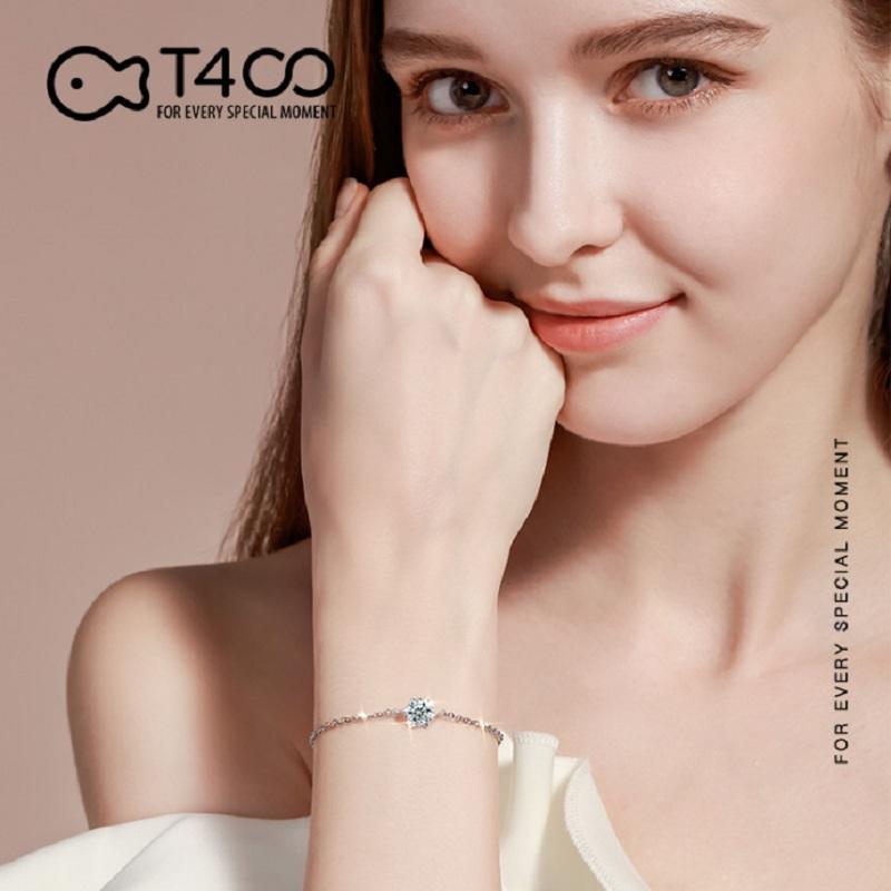T400莫桑石手链女纯银一克拉单钻小众设计求婚结婚生日礼物送女友