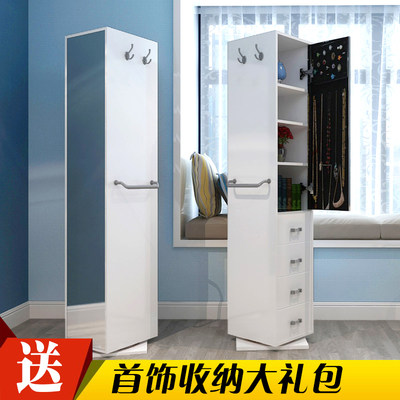 Korean jewelry cabinet wear mirror fitting mirror European pastoral rotation body makeup floor mirror jewelry cabinet storage