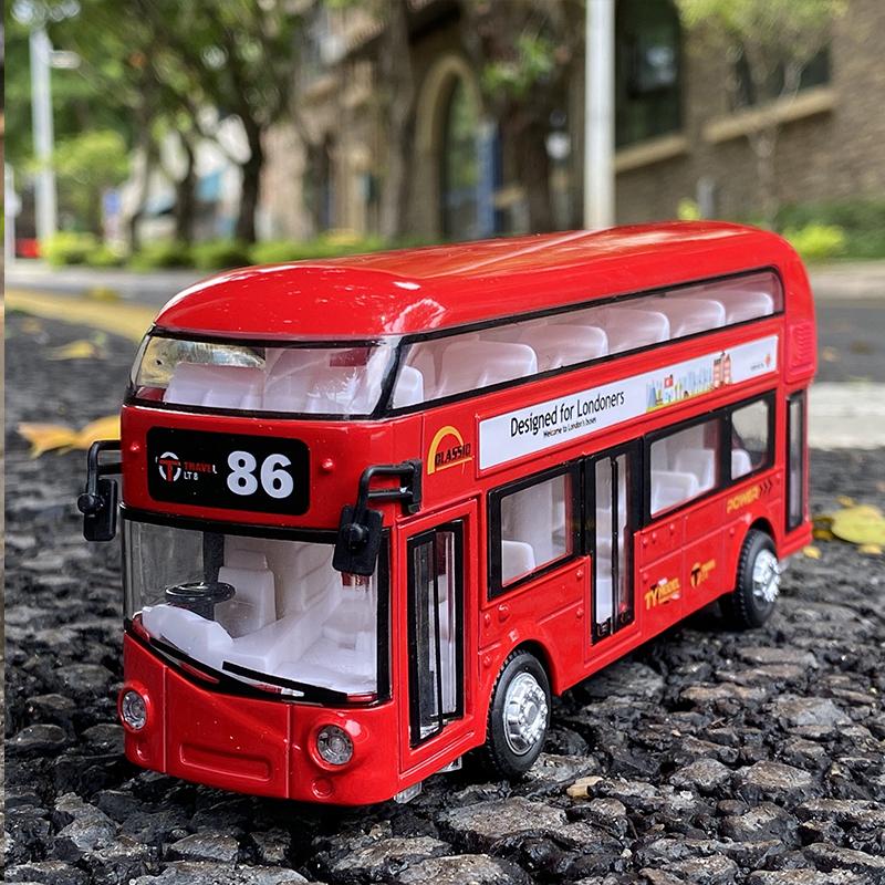包邮清仓合金1/32公交车模型天鹰汽车v模型公共双层巴士男孩玩具车
