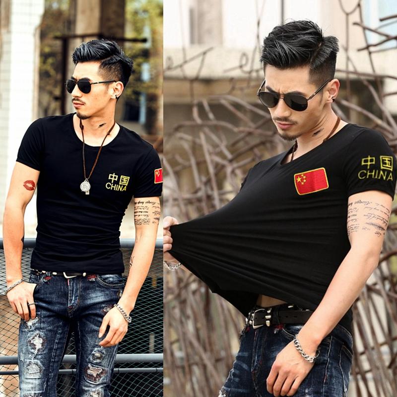 带印有中国国旗图案的短袖T恤五星红旗上衣服装男女军人半袖