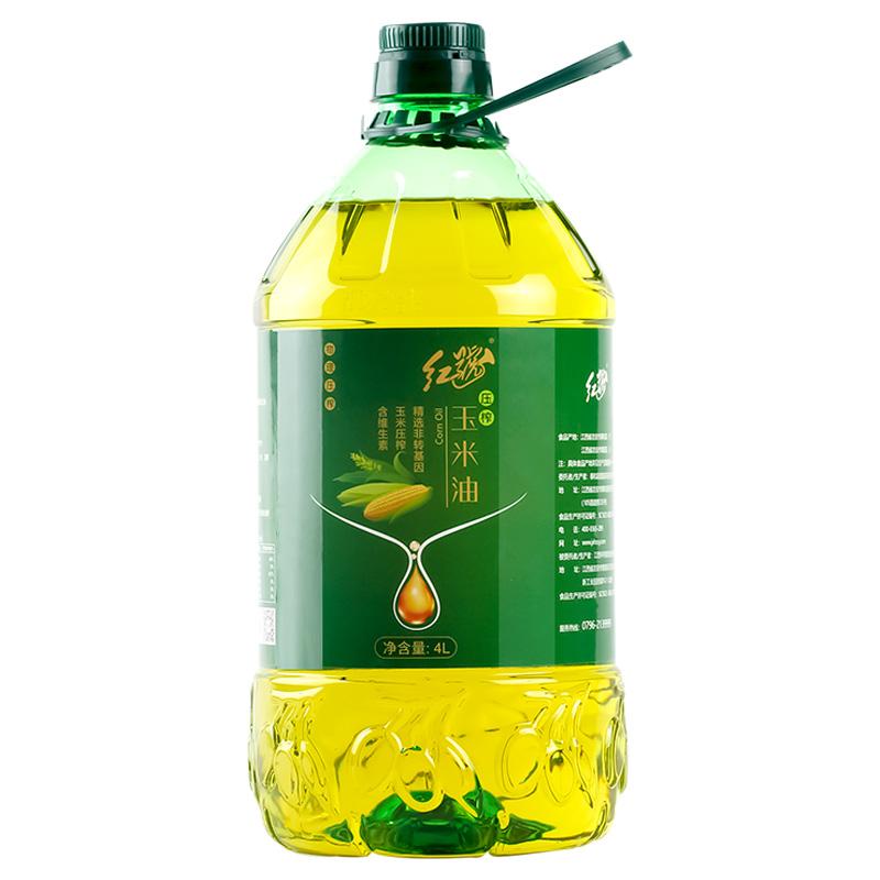 红号 鲜胚玉米油 非转基因玉米胚芽植物食用油4L 家庭烹饪蛋糕油,免费领取20.00元淘宝优惠卷