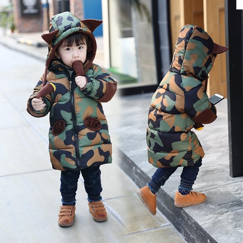 男女童棉袄迷彩冬款棉衣儿童棉服宝宝外套中长款可爱型1-6岁小童