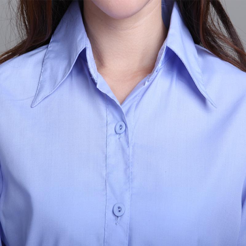 женская рубашка Рубашка белая воротник длинный рукав голубой рубашки тонкий подходят женские дна рубашки комбинезоны фабрики прямые