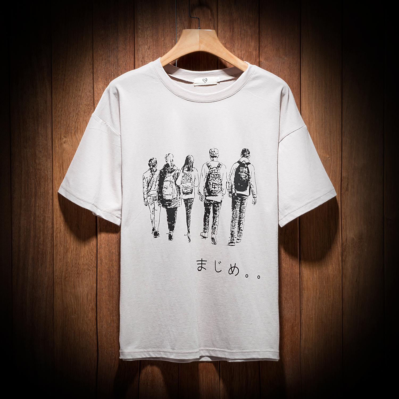 Новый летний 2018 мужской печать круглый вырез с коротким рукавом t футболки корейская волна струиться студент личность дикий красивый одежда