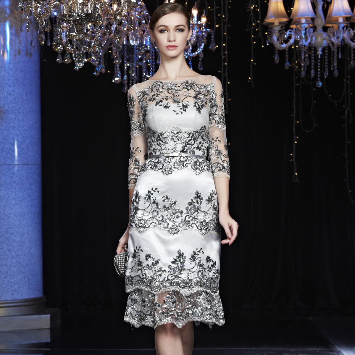 Женская одежда Ежегодное совещание, вечернее платье 2017 новый раскол юбка была тонкая свадебное свекрови большой ярдов дамы темперамент теща свадьба