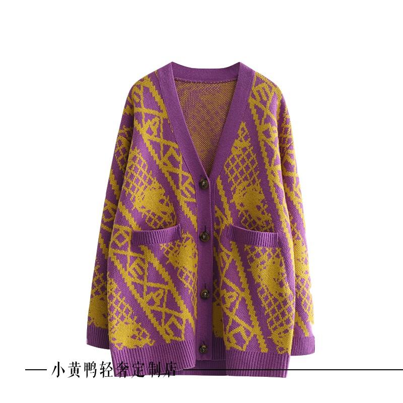 3G4E504欢乐地素颜色2019冬季新款复古风宽松V领针织开衫女毛衣