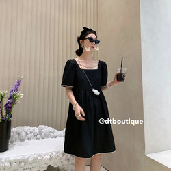 Measure Xia French Square Neck Dress High Waist Black Mid-length Skirt 2021 New Summer Goddess Fan Loose Thin Skirt