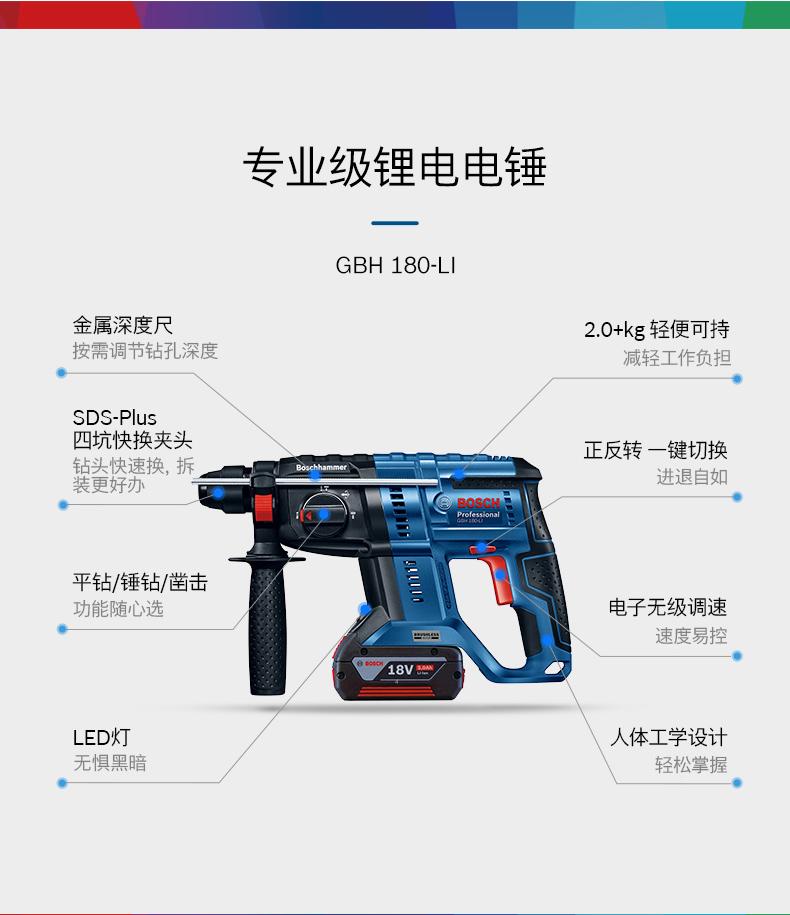 博世电动工具多功能电锤冲击钻GBH180无刷四坑锂电充电式三用电锤详情图
