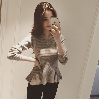 2017 autumn and winter Korean women's sweater t-shirt stretch Slim short paragraph long-sleeved crew neck sweater knit bottoming tide