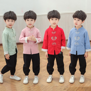 Boys Tang Suit for Kids Boys' Tang costume Chinese wind spring long sleeve suit boy old style children cotton hemp Tang suit children's Han suit