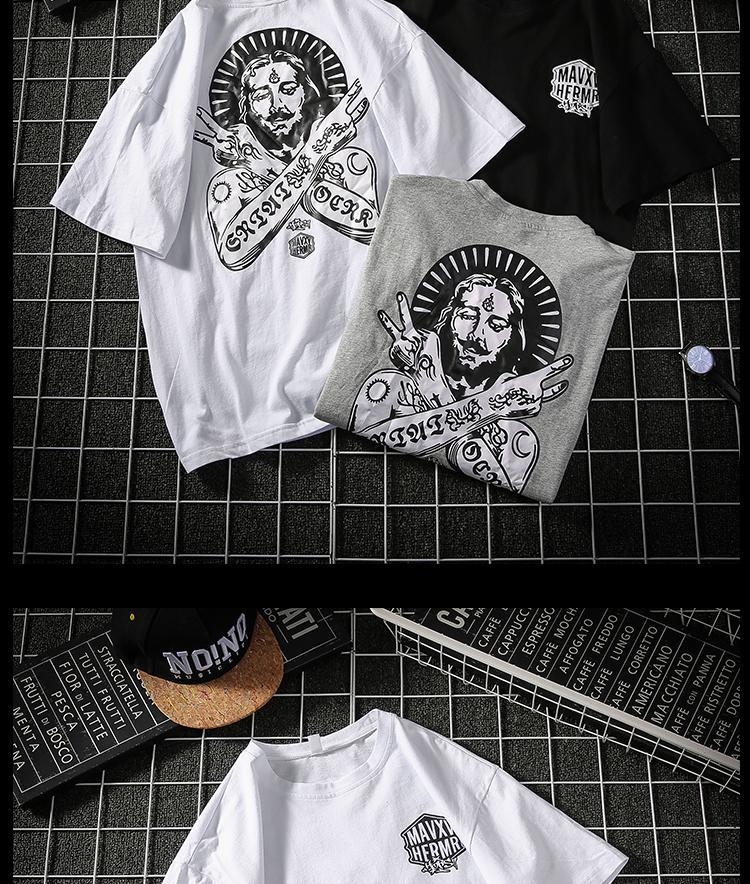 带质检 自主品牌印花圆领短袖T恤大码男装T154 P30(控45)