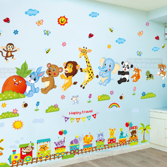 Baby Stickers Wall Painting Cute Animals Children S Room Wall Stickers Early Childhood Cartoon Classroom Layout Decorative Stickers Self Adhesive