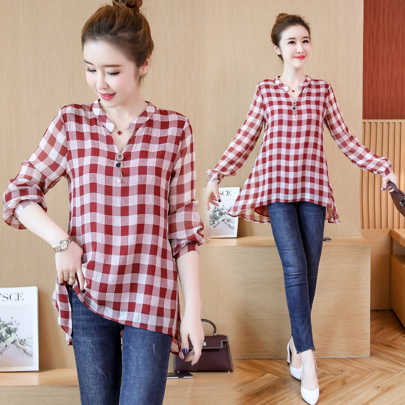 Fat mm large size plaid shirt 2018 New fat sister Autumn cover belly age women loose chiffon shirt