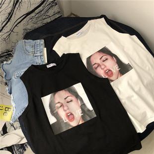 Безрукавный t футболки женщина лето алфавит студент свободный дикий верхняя одежда ретро chic порт вкус куртка bf ветер жилет