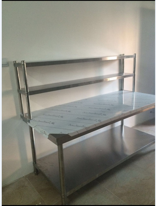 USD 42.77] Custom assembled stainless steel table with shelf ...