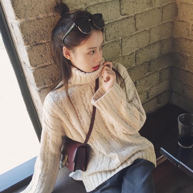 慵懒风毛衣女秋新款韩版chic宽松百搭高领套头学生复古针织外套女