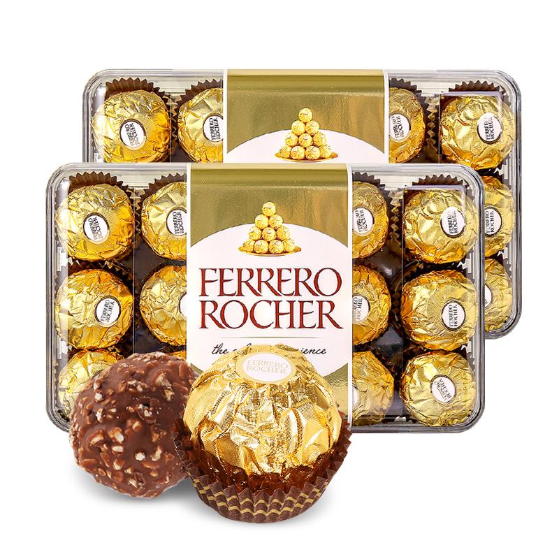 意大利进口 Rocher 费列罗 T30榛果威化巧克力 30粒375g盒装*2盒 双重优惠折后¥124包邮包税 88VIP会员还可95折