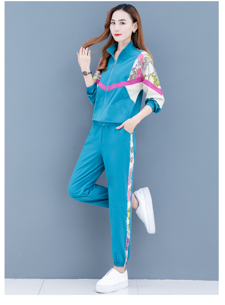 Clearance leisure sports suit women's spring and autumn 2020 new Korean version of the fashion color printing long sleeves thin two-piece set 52 Online shopping Bangladesh